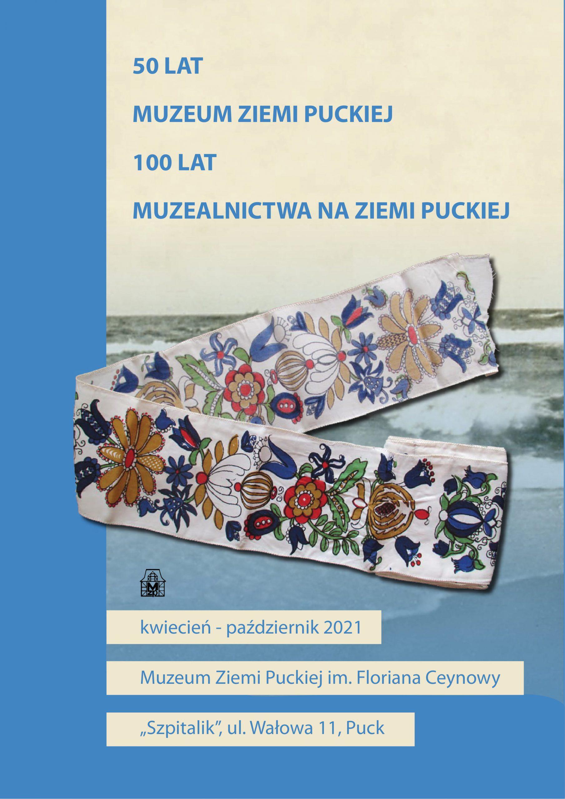 Plakat utrzymany jest w niebieskich kolorach w centralnym miejscu znajduje się wstążka z motywem haftu kaszubskiego.