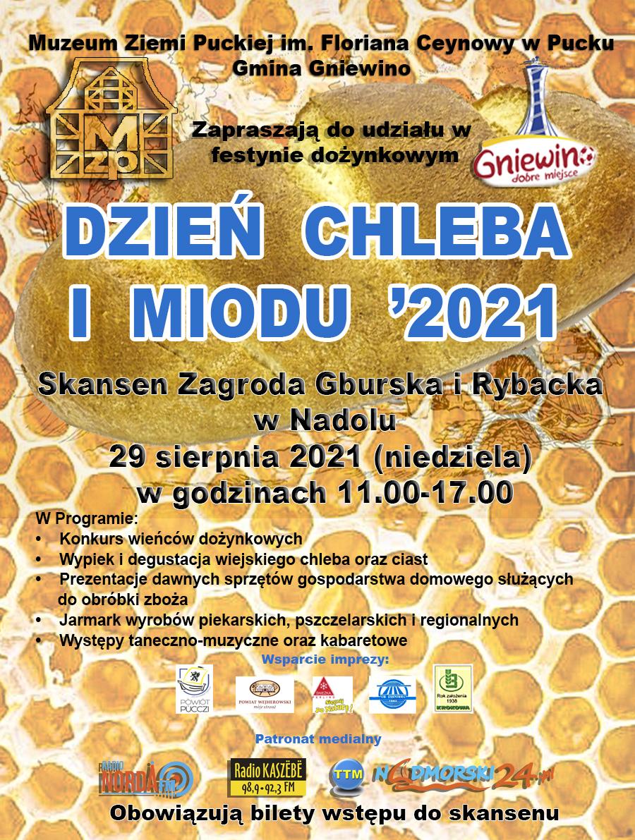 Plakat festynu dożynkowego Dzień Chleba i Miodu organizowanego w Skansenie Zagroda Gburska i Rybacka w Nadolu nad Jeziorem Żarnowieckim 29 sierpnia 2021 roku.